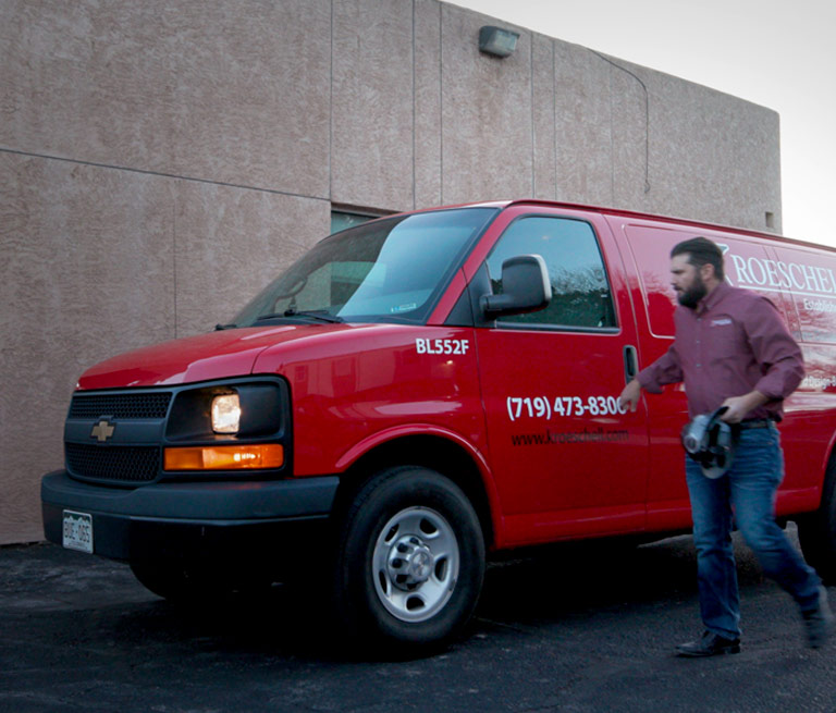 Red Van At Construction Site